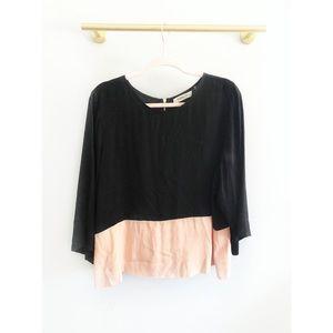 Sam & Lavi | Black Color Block Bell Sleeve Blouse